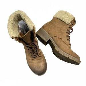 Dunes Brown Heeled Boots Sherpa Lining Size 7.5